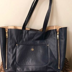 Ann Taylor Signature Pebble Leather Tote (Navy).
